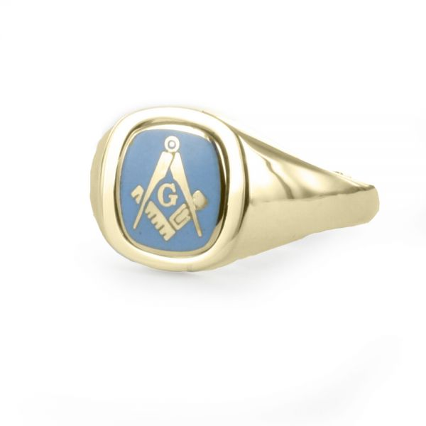 Light Blue Reversible Cushion Head Solid Gold Square and Compass with G Masonic Ring