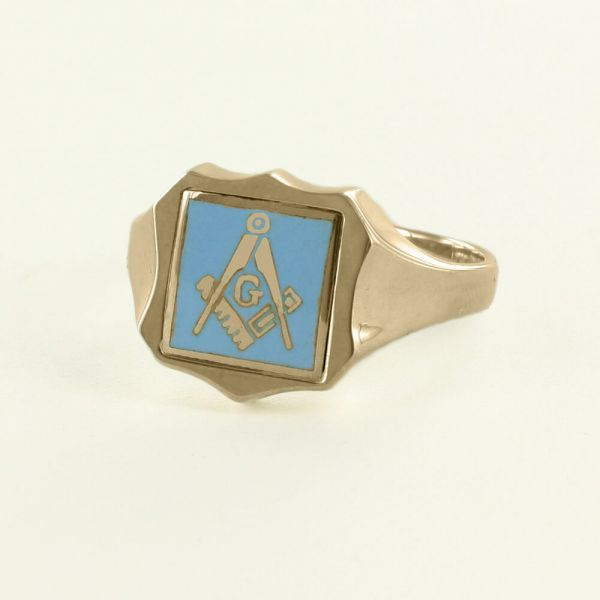Light Blue Reversible Shield Head Solid Gold Square and Compass with G Masonic Ring