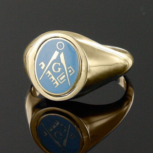 Light Blue Reversible 9ct Gold Square and Compass with G Masonic Ring