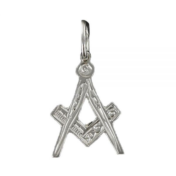 Hallmarked Solid Silver Masonic Square And Compass Pendant