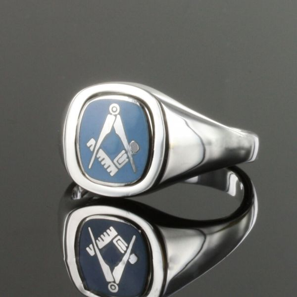 Light Blue Reversible Cushion Head Solid Silver Square and Compass Masonic Ring