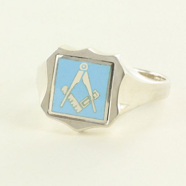Light Blue Reversible Shield Head Solid Silver Square and Compass Masonic Ring